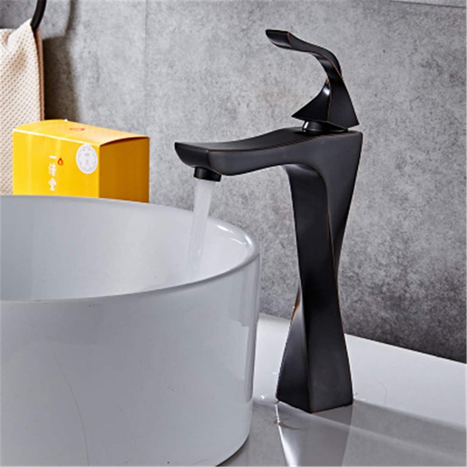 PajCzh Taps Taps Faucet Faucet All-Copper European Black Bronze Faucet Heightened Faceplate Washbasin Hot And Cold Water Faucet, A, 1