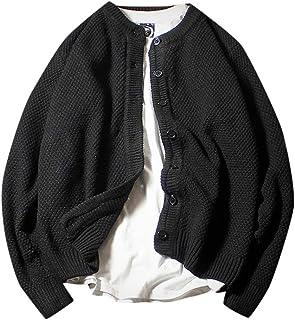 Meilaifushi ジャケット アウター 長袖 ニット 無地 ボタン ソフト カーディガン トップス 作業服 シンプル プルオーバー 暖かい ジャージ 柔らかい ブルゾン かっこいい 防寒ウェア 保温 おおきいサイズ 黒