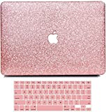 Anban MacBook Air 13 inch Case A1466 A1369 Release 2010 - 2017, Sparkly Bling Smooth Slim PU Leather Protective Laptop Shell Cover with Keyboard Cover Compatible with Mac Air 13, Shining Rose Gold
