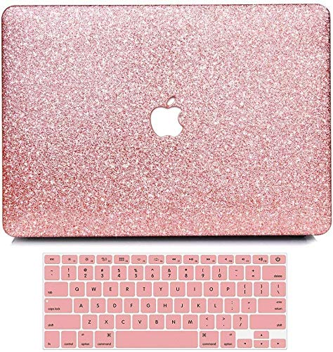 MacBook Air 13 inch Case,Anban Glitter Bling Smooth Protective Laptop Shell Slim Snap On Case with Keyboard Cover Compatible MacBook Air 13' (A1369 & A1466),Rose Gold