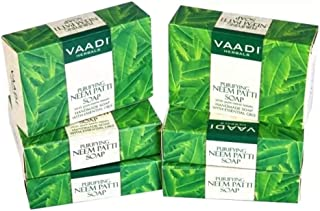 Neem Soap (Neem Leaves Bar Soap) - Handmade Herbal Soap (Aromatherapy) with 100% Pure Essential Oils - ALL Natural - Prevents Premature Aging - Each 2.65 Ounces - Pack of 6 (16 Ounces) - Vaadi Herbals