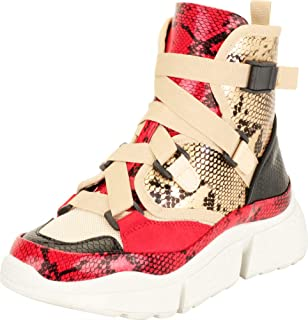 Cambridge Select Women's High Top Colorblock Utility Crisscross Strappy Chunky Platform Fashion Sneaker