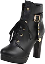 Onefa Women's Winter Boots Side Zipper Buckle Ankle Boots Thick High Heel Casual Short Booties