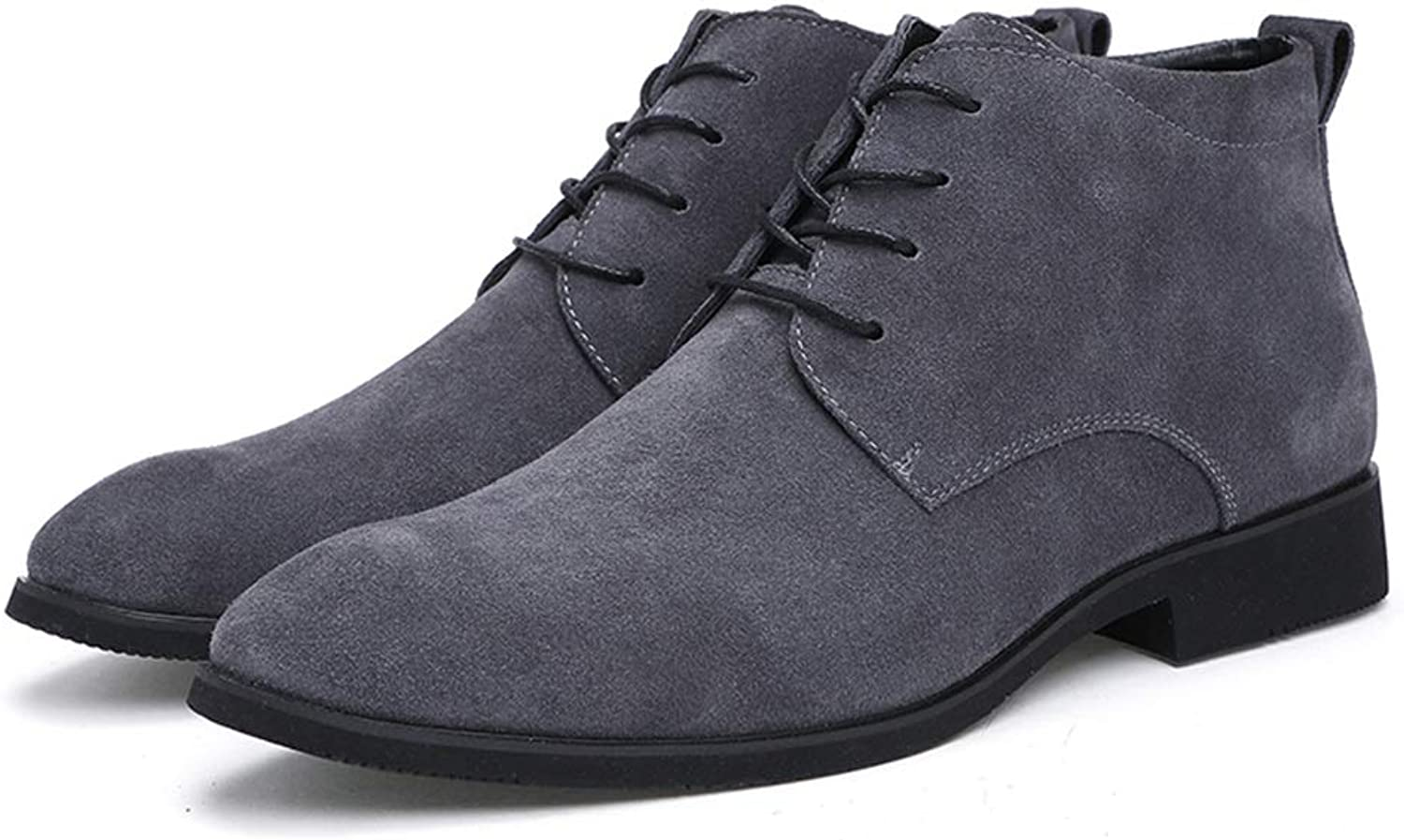 Xujw-shoes Men's Casual Solid color for Pointed Toe Fashion Ankle Boots Lacing Up High Top Boot