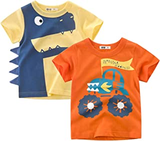 Baby and Toddler Boys' 2-Pack Short-Sleeve Graphic Tees 3D Cute Animal Tee