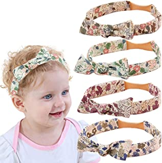 Soft Cotton Bow Headbands for Baby Girls Toddlers Floral Flower Print Elastic Nylon Headband Hair Bands Bows Accessories