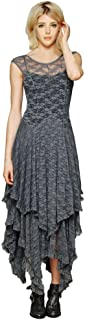 Women's Sleeveless Floral Lace Tiered Long Irregular Party Dress