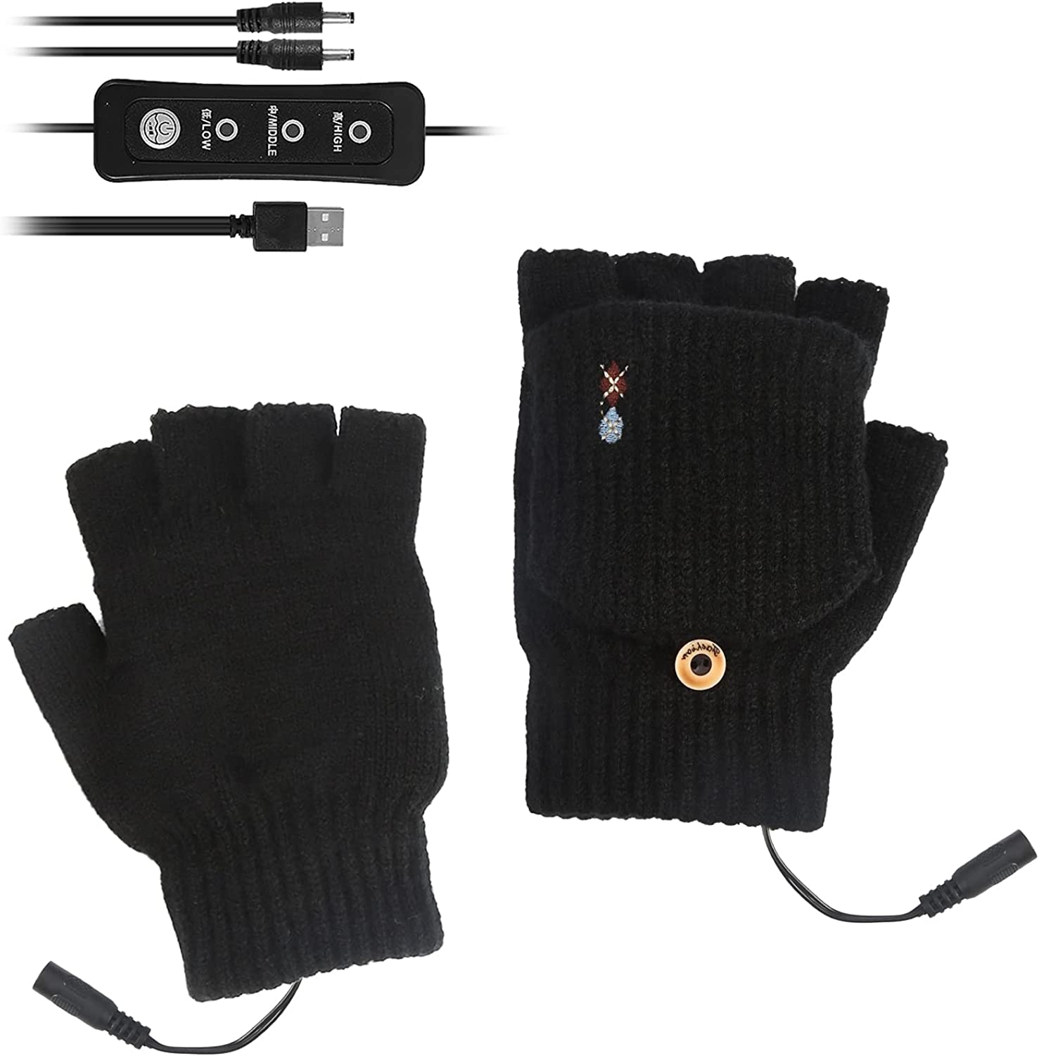 USB Heated Mittens, Winter Fingerless Knitted USB Electric Heated Gloves for Typing, Fishing, Biking, Hiking