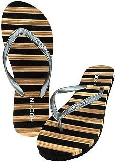 Women's Flip Flops Sandals - Cabana Couture Striped Sandals - Soft Footbed Slide Beach Sandals Casual Fashion Flip Flops