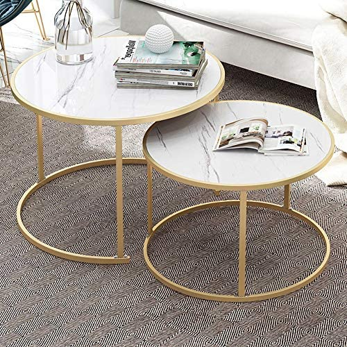 Best Nesting Coffee Tables White Living Room Table Sets, Marble Look Sofa Side Nest of Tables Round End T