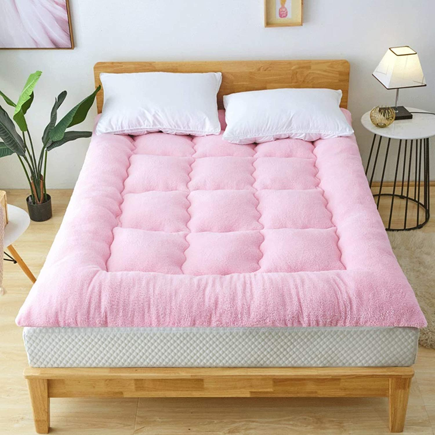 Tatami Mattress Thickening Warm Three Second Speed Hot Double Bedroom Sleeping Mat Living Room Hotel Bed was (color   Pink, Size   90x200cm)