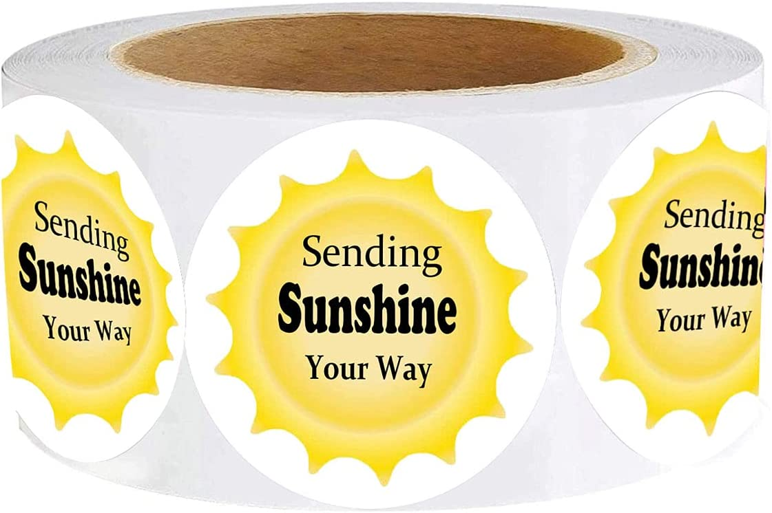 Sending Sunshine Your Way Stickers, 1.5 Inch Sending Sunshine Themed Thank You Customer Appreciation Sticker Labels for Small Shop,Small Business, Packaging (500 Pcs)