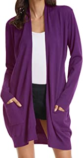 Women's Solid Soft Stretch Long Sleeve Open Front Sweaters Cardigans with Pockets