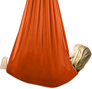 Sensory Therapy Swing Aerial Yoga Hammock Safe Deluxe Aerial Kit Antigravity Yoga Swing Only (Color : Orange, Size : 150x2...