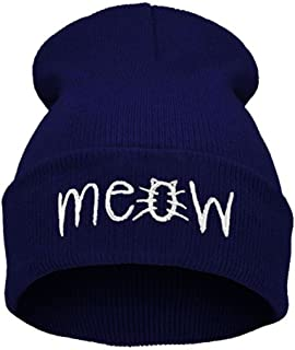Emerayo Caps for Women Winter,Winter Knitting Meow Beanie Hat and Snapback Men and Women Hiphop Cap,Girls' Hats & Caps,