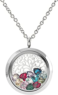 EVERLEAD Family Tree Of Life Stainless Steel Floating Charm Locket living memory locket pendant with All Birthstones