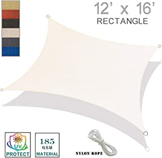 SUNNY GUARD 12' x 16' Cream Rectangle Sun Shade Sail UV Block for Outdoor Patio Garden