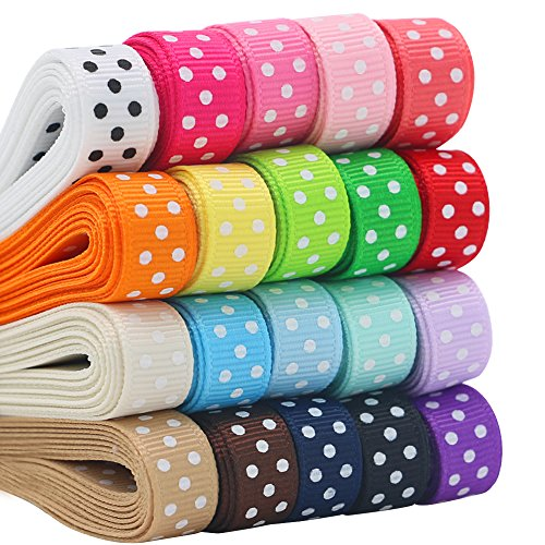 QingHan Grosgrain Ribbon for Gifts Wrapping Crafts 3/8' Boutique Polka Dot Fabric Ribbon 40yd (20 x 2yd)
