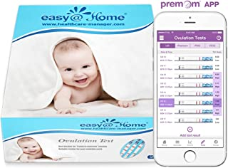 Easy@Home Ovulation Test Strips (50-pack), Ovulation Predictor Kit, Powered by Premom Ovulation Calculator iOS and Android APP, 50 LH Tests