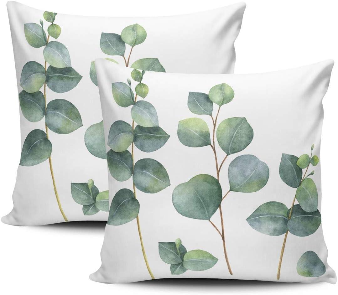 KELEMO Home [Alternative dealer] Set of 2 outlet Pillow Dollar Case Watercolor Eucalyptus Le