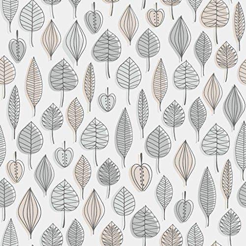 Reflections 5923 Vlies-Tapete 50er Retro-Motiv Blätter und Früchte in schwarzgrau, beige und grau auf mattweiß
