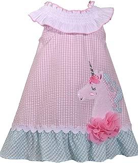 Girls Seersucker Unicorn Dress (0m-6x) (3t) Pink