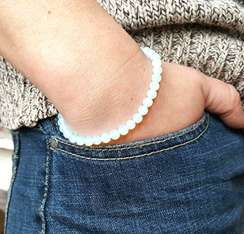 LOVEKUSH Bridesmaid Jewelry 6mm Stretchable White Moonstone Bracelet Round, Smooth 7' for Mens, Womens, gf, bf & Adult.
