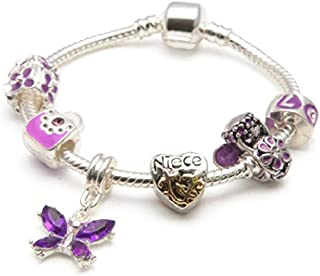 Liberty Charms Niece Childrens 'Purple Fairy Dream' Silver Plated Charm/Bead Bracelet.