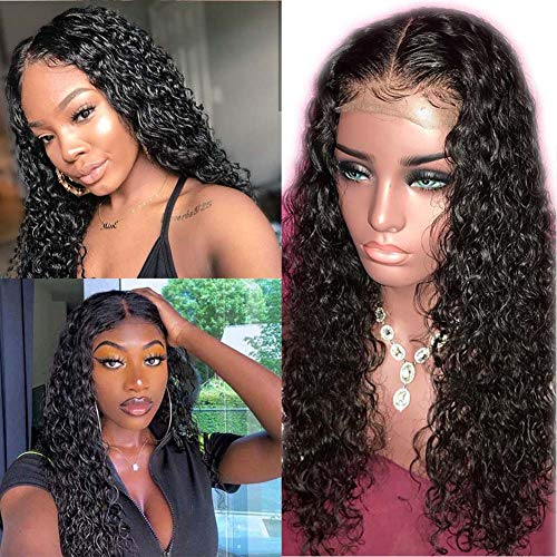 ARIETIS 18 Inch Water Wave Human Hair Wig 360 Lace Frontal Wig Brazilian Hair 150% Density 360 Lace Frontal Wig Human Hair Pre Plucked with Baby Hair Wet And Wavy Lace Front Wigs Natural Color