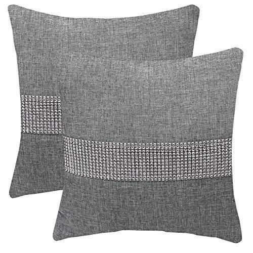 FYJS Confezione da 2 federe in lino artificiale con paillettes tridimensionali Decorazioni per la casa Fodera per cuscino quadrato per divano camera da letto 45x45cm,Grigio chiaro