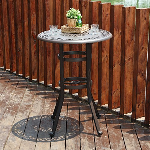 """PHI VILLA 32"""" Cast Aluminum Patio Bar Table, 41"""" Height High Top Outdoor Table, Pub Height Bistro Round Table for Paito Lawn Garden, Brown"""