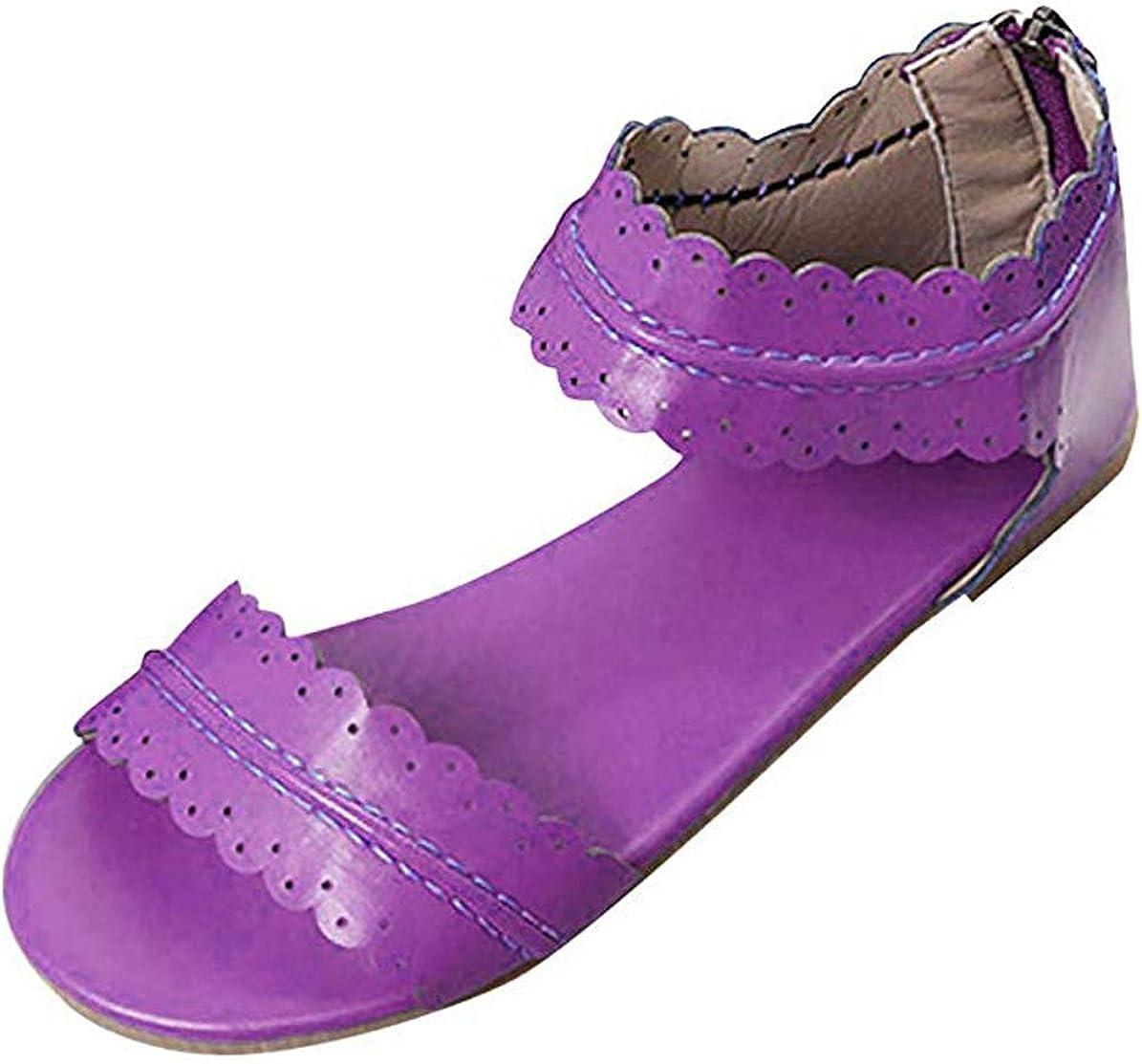 MayBest Womens Summer San Francisco Mall Flat Sandals Cute Ank Toe Beach Shoes Open Award-winning store