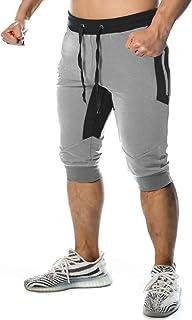 TREKEK Men's 3/4 Workout Pants Running Joggers Gym Shorts Breathable Athletic Capri Sweatpants