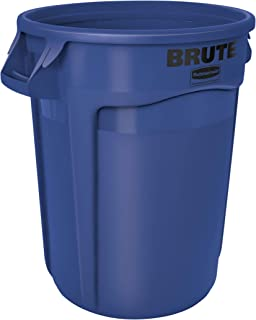 Rubbermaid Commercial Products FG263200BLUE BRUTE Heavy-Duty Round Trash/Garbage Can, 32-Gallon, Blue