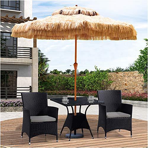 WUKALA Sombrillas Terraza De 9 'con Manivela,Paraguas de Paja de Tela de Poliéster Impermeable Y Resistente ai Desgaste,para Jardín Playa Al Aire Libre Parasoles de Jardin