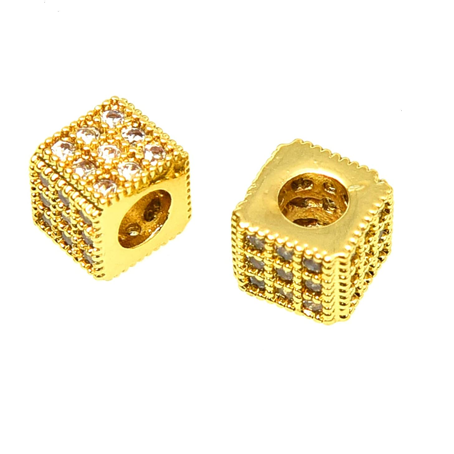 Monrocco 2 Pcs 7mm Gold Zircon Gemstones Brass Micro Pave Square Charm Bead for Jewelry Making