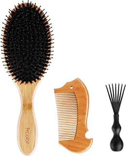 Boar Bristle Hair Brush Bamboo Handle Anti-static Massage Comb for Styling Straightening Detangling