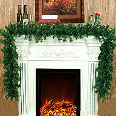 8.9ft Christmas Garlands Long Green Pine Garland for Stair Fireplaces