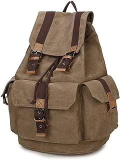 Sturdy Fashian Retro Solid Color Shoulder Handbag Men's Drawstring Canvas Handbag Computer Handbag Backpack Schoolbag School Students Large Capacity (Color : Coffee)