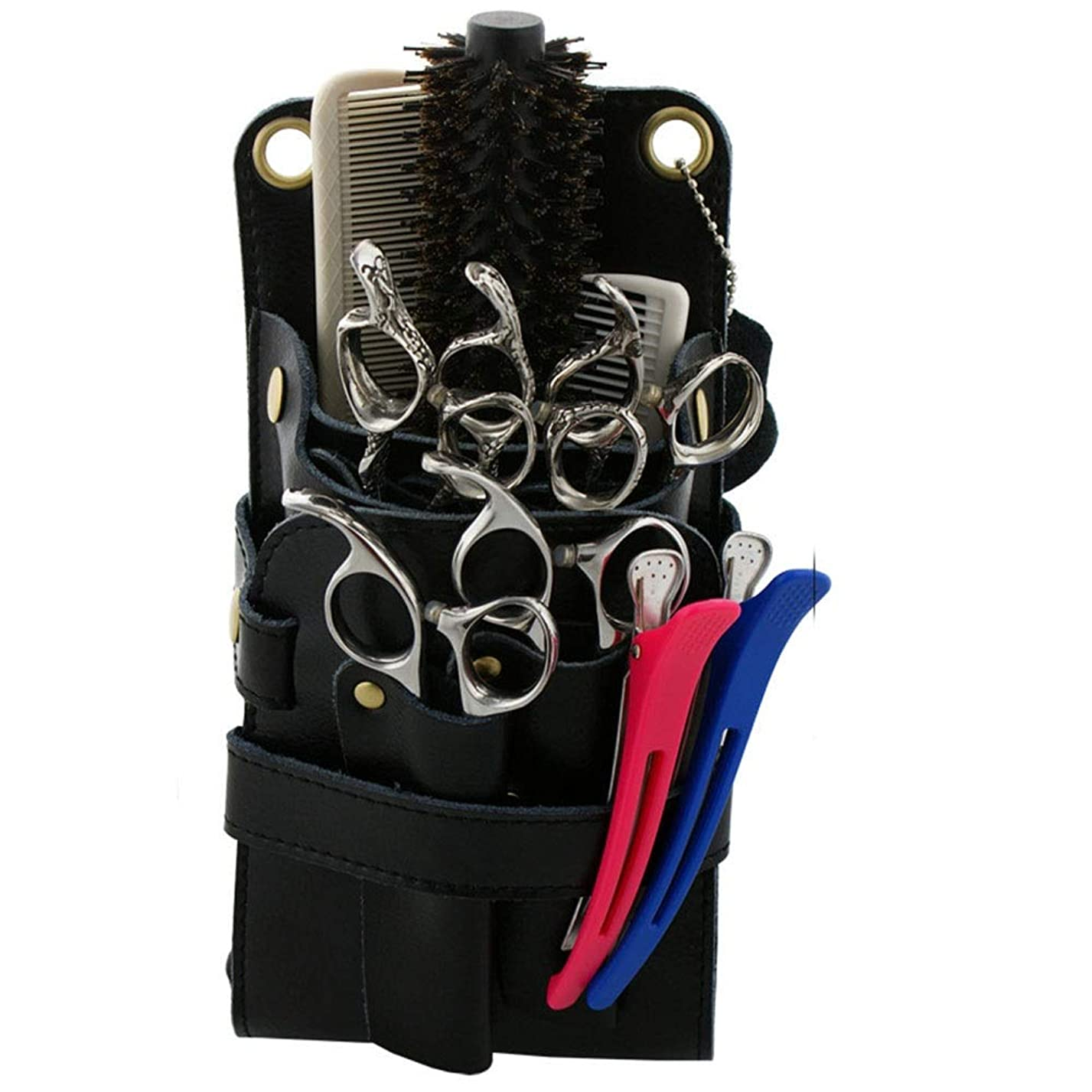 膨張するかりて入場Xingfuzhijia 多機能ヘアスタイリストホルスターポーチ、自分革理髪はさみ&コーム理髪ベルトポーチ (色 : 黒)