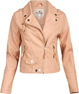 URBAN REPUBLIC Women Faux Leather Moto Biker Jacket with Studded Detailing, Size Large, All Rose Smoke