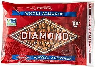 Diamond of California, Whole Almonds, Non GMO, No Added Salt, 16 oz.