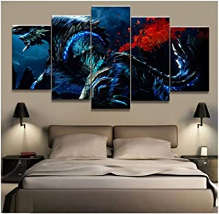 Junewind Canvas Painting Home Decor Modular Canvas Picture 5 Piece Zinogre Monster Hunter Game Painting Poster Wall for Home Canvas Painting-SIZE2