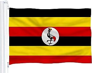 DFLIVE Uganda Flag 3x5 Ft Thicker Polyester The Ugandan National Banner with Brass Grommets