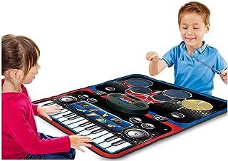 بساط لعب متعدد الوظائف 2 في 1 يضم الات موسيقية مدمجة منها بيانو ذو 24 مفتاحًا وعدة طبول، مناسب للاطفال من الجنسين، رائع لل...