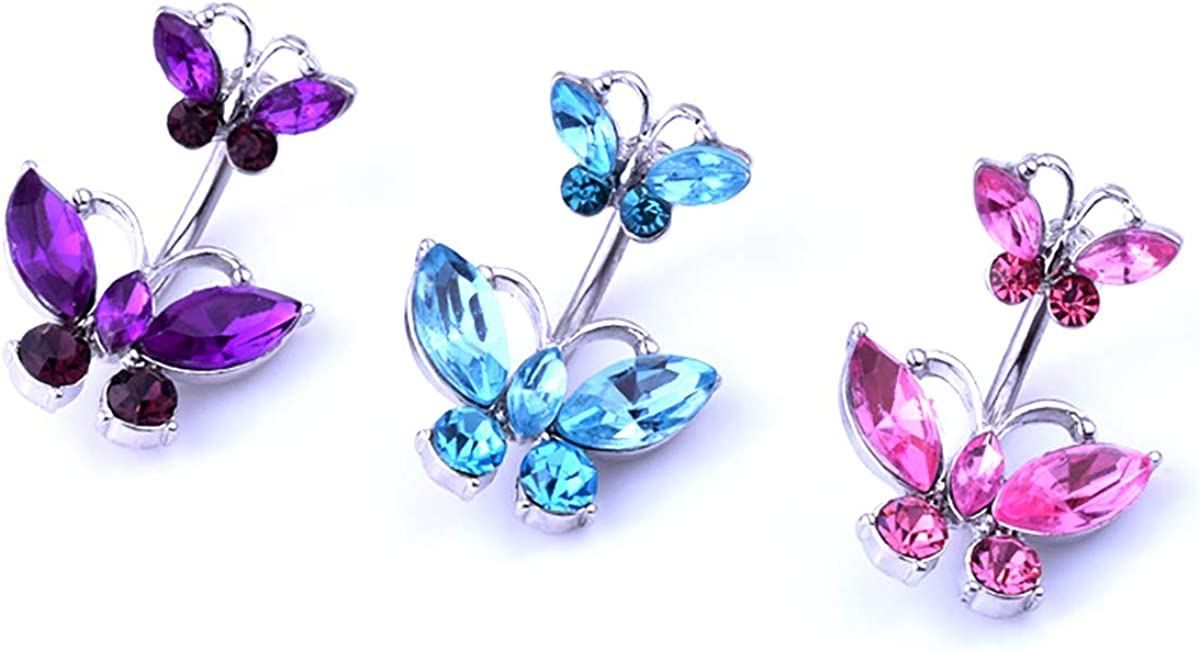 3Pcs Belly Button Rings 14G Surgical Steel Butterfly Cubic Zirconia Navel Piercing Jewelry