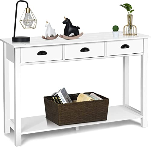 wholesale Giantex Console Sofa Table with 3 Drawers, Sofa Side Table with Shelf, Rectangular Console Table for Living Room discount Office Bedroom, Hallway, outlet sale Multifunctional Usage Accent Entryway Table(White) sale