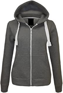 Ladies Senior Girls Plain Hoodie Sweatshirt Fleece Lined Jacket US Size 6-20