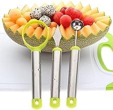 3 In 1 Melon Baller Fruit Carving Knife Fruit Scoop Kitchen Tool Set (Green)