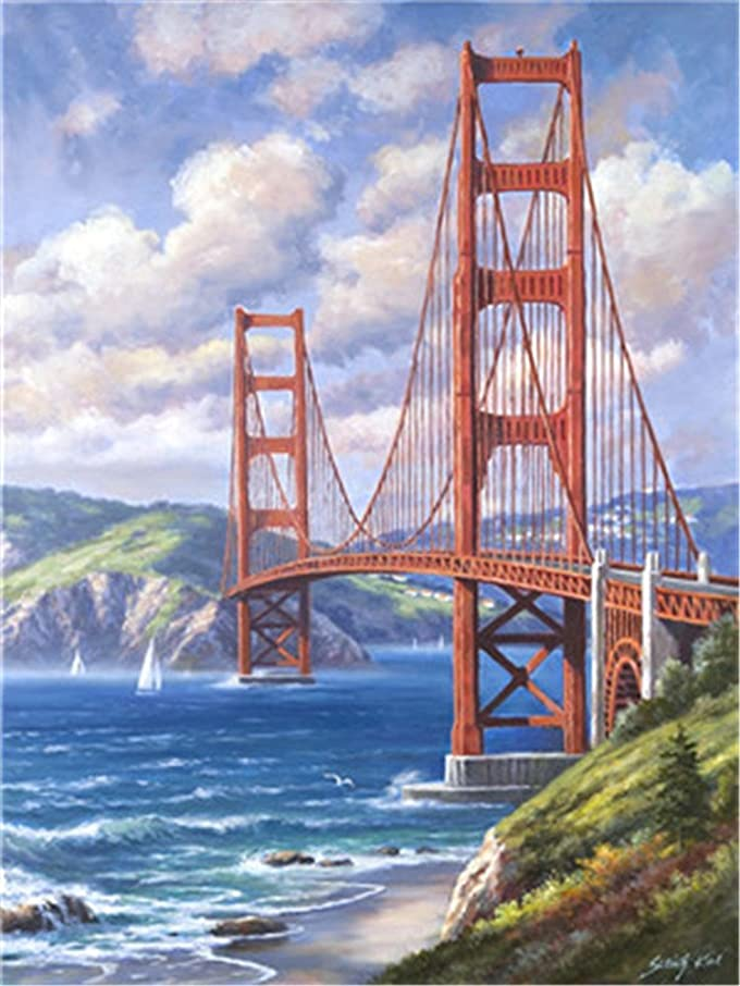 Diy Oil Paint by Number Kit for Adults Beginner 16x20 inch - Iron Bridge, Drawing with Brushes Christmas Decor Decorations Gifts (Without Frame)
